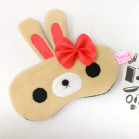 NEW! Kawaii Sleeping Eye Mask - Berrie Bunny Girl (Ribbon)