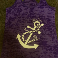 I refuse To Sink Burn Out Fitness Tank Top. Burn Out Gym Shirt. Fitness Tank Top. Woman's Work Out Clothing. Racer back Tank this l