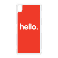 Hello White Hard Plastic Case for Sony Xperia Z3 by textGuy