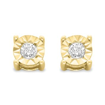 10k Yellow-Gold Plated Sterling Silver .10ct. TDW Round-Cut Diamond Miracle-Plated Stud Earrings (J-K,I3)