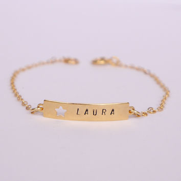 Gold Filled Name Plate Bracelet