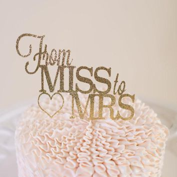 Chicinlife 1Pcs Glitter From Miss to Mrs Cake Cupcake Toppers