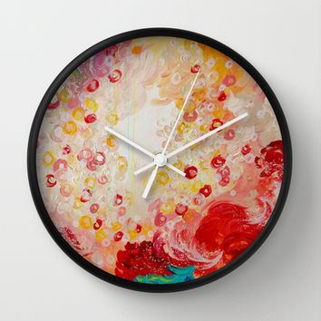 SUMMER DAYS Feminine Pretty Pink Red Peach Abstract Acrylic Painting Whismical Nature Color Splash Wall Clock by EbiEmporium