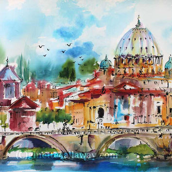 Rome Italy Saint Peter 's Basilica Expressive Watercolor Original