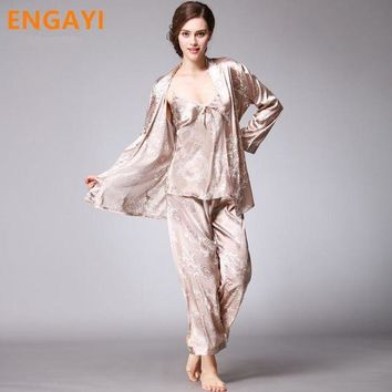 CREYCI7 3 Pcs Autumn Women Robes Bathrobes Sets Sexy Lace Silk Satin Pajamas Pyjamas Pijamas Sets Nightgown Nightwear Night Gown TZ013