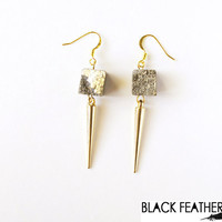 Pyrite and Spike earrings - Meteor Shower