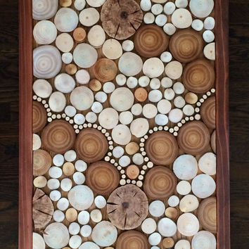 "Wood Wall Art 48""x20"" with Frame - The Trail - Reclaimed Abstract Wood Slices"