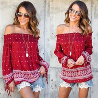 Ladies Boho Off the Shoulder Blouse Top Beach Slouch Baggy Floral Shirt T-shirt