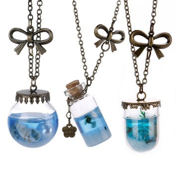 Newe Fashion Sea Ocean Glass Bottle Pendant Mermaid Tears Shells Star Vial Necklace