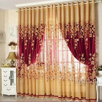On sale ! Curtains Luxury Beaded For Living Room Tulle +Blackout Curtain Window Treatment/drape  In Golden/Pink Freeshipping