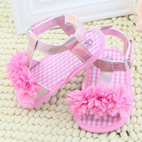 New Baby Girl  Shoes Floral Summer Sandals Crib Soft Sole Non-slip PrincessSummer  Shoes 0-18M Free Shipping