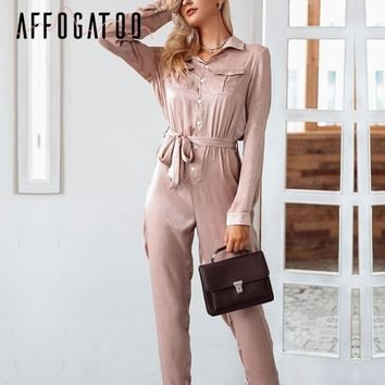 Affogatoo Elegant satin long sleeve jumpsuits rompers Casual sash button overalls playsuit High waist winter jumpsuit women 2018