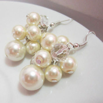 Ivory Pearl Earrings, Cluster Earrings, Bridesmaids Earrings, Chunky Earrings, Weddings