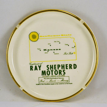 Advertising Ashtray - Ray Shepherd Motors Fort Scott Kansas Sunflower - Ford Mercury Lincoln Large Gold Trimmed