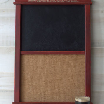 Vintage Memo Board and Chalk Board, Man Cave Wall Decor,  Americana Chalkboard and Memo Board