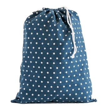 Dots Navy Drawstring Bag
