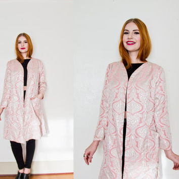 Vintage 1960s Coat - Pink Silver Metallic Brocade Long Sleeve Jacket Cocktail Party - Medium / Small