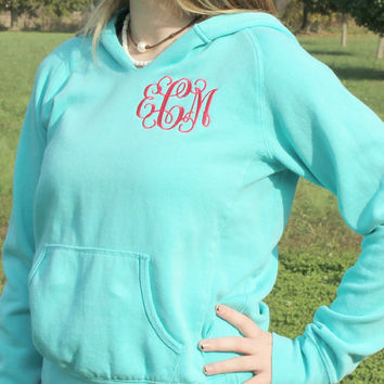 Monogrammed Hoodie Pullover Sweatshirt Lagoon Blue Personalized Gifts Intertwined Monogram