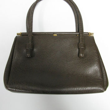Weymouth American Vintage Brown Faux Leather Handbag - Weymouth American Vintage Purse - 1960s Handbag - Sixties Clothing - Vintage Bag