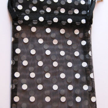 Set of 20 Black with White Polka Dot Organza Bags (4x6)