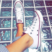 """x1love :""""Converse"""" Fashion Canvas Flats Sneakers Sport Shoes White"""