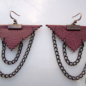 Dark Red Leather earrings,Triangle earrings,Leather handmade jewelry