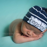 Baby knot hat- navy blue and gray stripe jersey w/ embroidered personalized name- photo prop- newborn- baby boy- modern baby