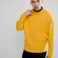 ASOS Oversized Sweatshirt With Double Layer Neck at asos.com