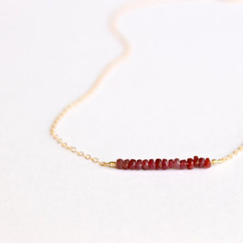 Genuine Ruby Necklace - 14k Gold or Sterling Silver - Bead Bar Necklace - Delicate Necklace - Ruby Red - July Birthstone - Layering Simple