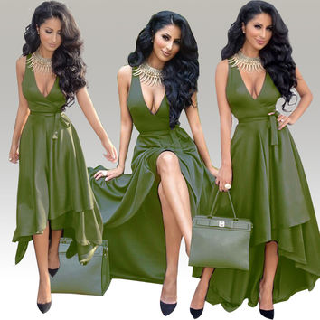 Green Sleeveless Deep V-Neck Tie Waist High-Low Maxi Dress
