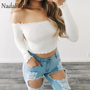 Nadafair Long Sleeve Slash Neck Off Shoulder Sexy Skinny Knitted Crop Tops Red Black White Fashion T Shirts