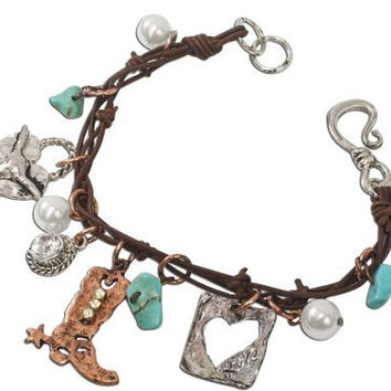 Leather Boot Turquoise Bracelet