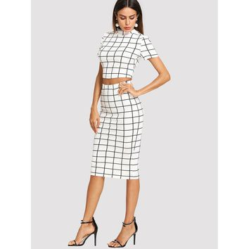 Mock Neck Grid Crop Top & Pencil Skirt Set