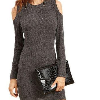 COLROVIE Grey Open Shoulder Ribbed Bodycon Dress Ladies Long Sleeve Sheath Short T-Shirt Dress Fall Sexy Mini Dress