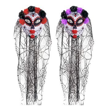 Halloween Mask Horro Clown Masquerade Party Dress Up Men&Women Skeleton Scary Mask With Colorful Head Veil Latex Masks Helloween