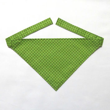 Dog Bandana Checkered Olive Green and Lime Green Pattern - Gingham Green - Handmade - Hand Stitched