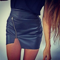 Zipper Irregular High Waist Skirt B0014346