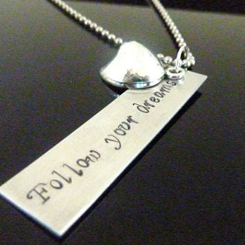Personalized Fortune cookie necklace Hand stamped Necklace Inspirational Custom jewelry