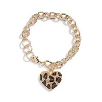 Gold-Tone Leopard Heart Bracelet at Guess