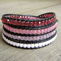 Beaded Leather Wrap Bracelet 4 Wrap with Ombre Pink Toned Czech Glass Beads on Black Leather