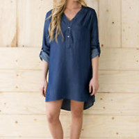 New Women's Plus Size Cuffed Sleeve Denim Shirts Blouse Coats Jean Jacket Dress