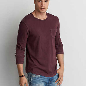 AEO Long Sleeve Pocket Crew T-Shirt, Deep Burgundy