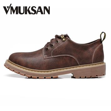 VMUKSAN Big Size 38-47 Men Boots 2017 New Fashion Ankle Boots For Man Lace Up Brand Me