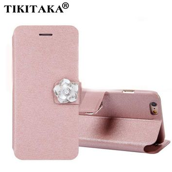 6 6s Luxury leather Flip Wallet Case For iPhone 5 5s SE 6 6s Plus Fashion Diamond Flower Silk Pattern Phone Case Card Slot Stand