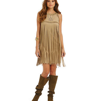 Chelsea & Violet Faux Suede Fringe Dress | Dillards