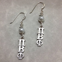 Pi Beta Phi Lavaliere Earrings with Pearl Accent Beads, officially licensed