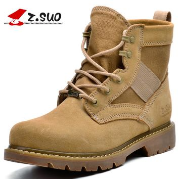 Boots Desert Men Ankle Boots Cow Leather Stitching Canvas Army Soldier Military Boots Winter Warm Boots