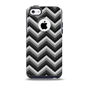 The Gray Toned Layered CHevron Pattern Skin for the iPhone 5c OtterBox Commuter Case