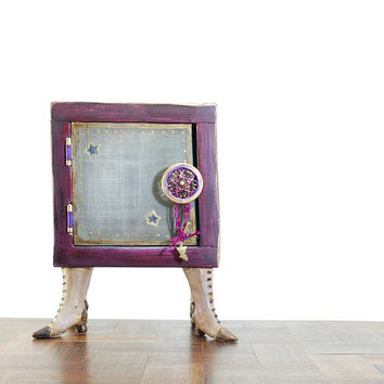 kitsch purple wooden box with legs - lilac reclaimed wood - unique office decor - geekery wooden art - lilac and gray whimsy art