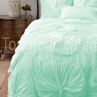 Branded 1000TC Egyption Cotton Flower Ruffled Duvet Set Queen Size Aqua Solid